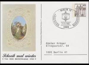 Privatpostkarte PP 80/14 Tag der Briefmarke Poesie, SSt BERLIN 24.10.1982