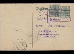 Zensur Auslandsstelle Trier Postkarte HANNOVER 26.6.16 nach Dalheim 28.6.16