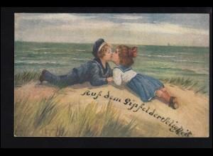 Künstler-AK F. Berger: Auf dem Gipfel der Seligkeit Der erste Kuss, ungebraucht