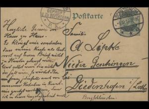 Postkarte P 90I Germania 5 Pf. Zensur-O GEPRÜFT P.K., SCHILTIGHEIM 6.10.14