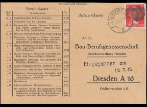 Sächsische Schwärzung AP 786I Hitler auf Postkarte CHEMNITZ 10.7.45 nach Dresden