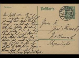 Postkarte P 156I Adler 5 Pf. gelaufen WANNE 15.9.24 nach Dorrtmund