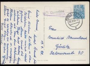 Landpost-Stempel Bechstedt über RUDOLSTADT 22.9.1959 auf AK Schwarzburg/Thür.