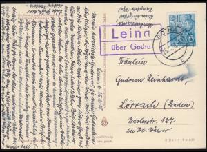 Landpost-Stempel Leina über GOTHA 2 - 25.2.1958 auf AK Grödener Dolomiten