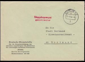 Kriegsgefangenenpost Deutsche Dienststelle WASt BERLIN 31.7.64 nach Dortmund