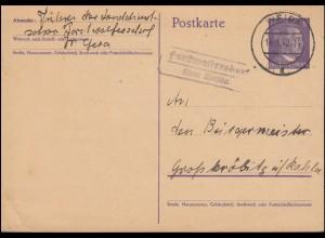 Landpost-Stempel Forstwolfersdorf über WEIDA 14.4.1942 auf Psotkarte P 299I