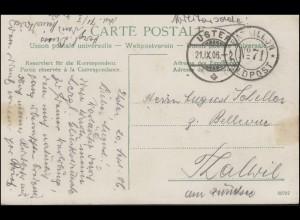 Schweizer Militärpost: FELDPOST No. 71 und USTER 21.9.1096 auf AK Infanterie