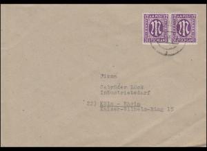 AM-Post 12 Pf Paar MeF Brief Dominitwerke DORTMUND 10 - 12.3.1946 nach Köln