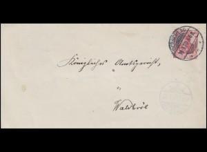 Germania 10 Pf. wiederverwendete Briefhülle DERSCHLAG 19.3.10 nach Waldbröl