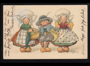 Künstler-AK K.J. Fricero: Kinder in Niederländischer Tracht, LEIPZIG 4.6.1911