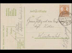 99 Germania 7 1/2 Pf. EF Postkarte DÜSSELDORF 1 - 22.11.17 nach Münstereifel