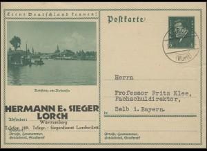 Bildpostkarte 6 Pf. Ebert: Konstanz am Bodensee, Lorch/Württemberg 17.9.32