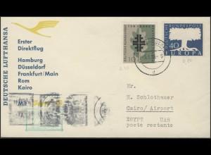 Eröffnungsflug LH 630 Hamburg-Düsseldorf-Rom-Kairo, 5.1.1959