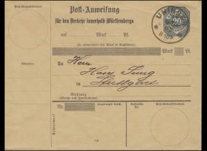 Württemberg Postanweisungs-Umschlag 20 Pf. blau Gefälligkeits-O UHINGEN 7.12.02