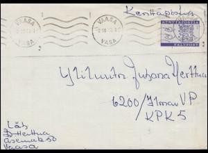 Finnland Militärfeldpost 8 als EF zeitgerecht auf Brief VAASA 2.10.1963