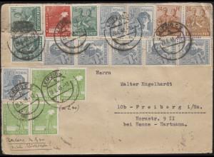 Währungsreform 943ff Kontrollrat II Zehnfachfrankatur Brief LEIPZIG 29.6.1948