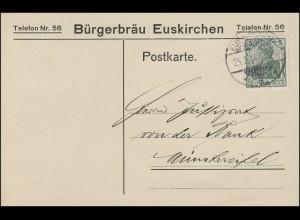 Germania 5 Pf. EF auf Postkarte Bürgerbräu EUSKIRCHEN 25.5.14 nach Münstereifel