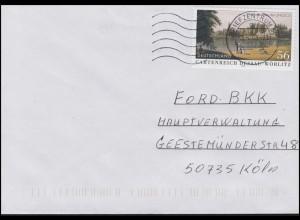 2277 UNESCO Dessau-Wörlitz - selbstklebend, EF Brief Briefzentrum 50 - 3.4.03