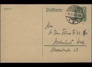 Postkarte P 156I Adler 5 Pf. gelaufen GREIFSWALD 23.7.24 nach Dortmund