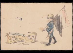 Propaganda-Feldpostkarte Kind mit Gewehr OFFENBACH 24.4.15 an Militäranschrift