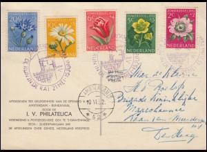 Niederlande 588-592 Sommermarken Blumen Satz auf AK Der Lauf des Rheins SSt 1952
