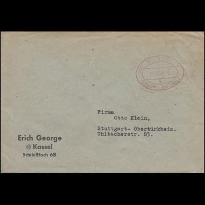 Gebühr-bezahlt Oval-Stempel rot KASSEL 1 g - 11.10.48 auf Brief nach Stuttgart