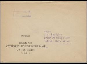 Postsache Deutsche Post ZENTRALES POSTVERKEHRSAMT DDR - 1085 Berlin in die USA