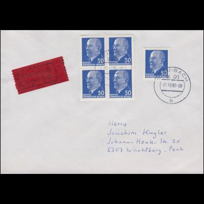 937 Ulbricht 50 Pf. MeF Viererblock und Einzelmarke Eil-Brief STEINBACH 1.10.90