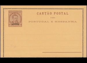 Portugal Kartenbrief K1 Luis I mit Aufdruck Azores / Azoren 1887, ungebraucht **