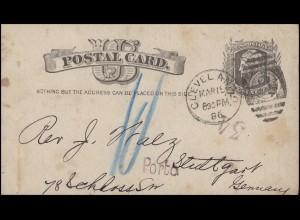 USA Postkarte One Cent CLEVELAND 15.3.86 mit PORTO-Stempel nach STUTTGART 29.3.