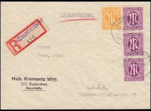 7+20 AM-Post auf R-Brief mit Not-R-Zettel EUSKIRCHEN 22.10.1945 nach Köln 24.10.
