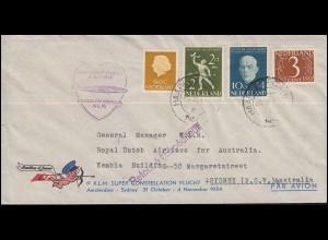 1. KLM-Sonderflug POSTILLION D'AMOUR Amsterdam-Sydney 31.10.1954 Brief 26.10.54
