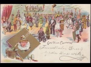 Ansichtskarte Gruss vom Carneval, CÖLN / RHEIN 22.1.897 als Orts-Postkarte