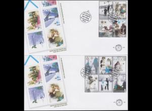 Niederlande 2264-2273 Dezembermarken aus Folienbogen auf 2 Schmuck-FDC 2004