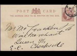 Großbritannien Postkarte P 5 Königin Viktoria Half Penny LONDON E.C.6 - 14.11.81