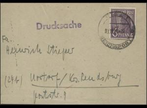 Gemeinschaft 966 Arbeiter 6 Pf Bfst. aptierter Stempel Kiel/Reichspost 1.10.47