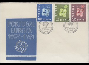 Portugal 907-909 EUROPA / CEPT 1961 - Satz auf Schmuck-FDC LISBOA 18.9.1961