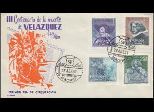 Spanien 1239-1242 Diego Velazquez aus Block 15-17 auf Schmuck-FDC MADRID 28.4.61