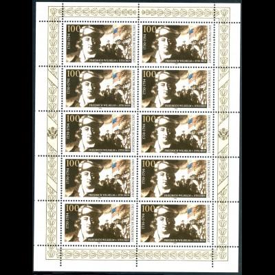 1766 Steuben - Zehnerbogen links & unten nicht durchgezähnt, **