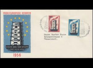 Niederlande 683-684 EUROPA / CEPT 1956 auf Schmuck-FDC nach Düsseldorf
