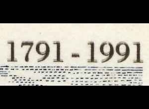 1492DD Brandenburger Tor - Doppeldruck der grauen Inschriften auf ETB 4/1991