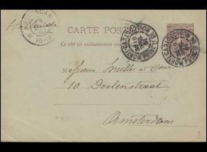 Monaco Postkarte P 7 Fürst Albert I. von MONTE CARLO 18.4.1901 nach AMSTERDAM