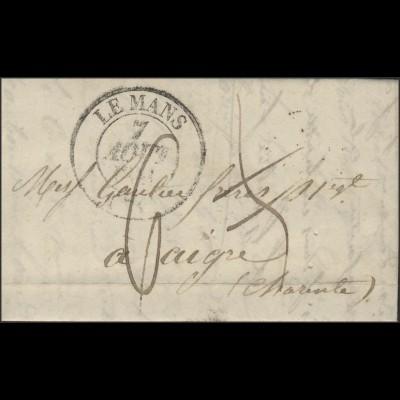 Frankreich Vorphilatelie Faltbrief Le Mans 7.8.41 nach Aigre 8.8.1841