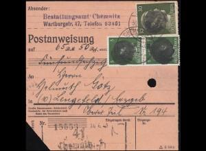 Sächsische Schwärzung AP 782I+794I Hitler auf Postanweisung CHEMNITZ 30.6.45