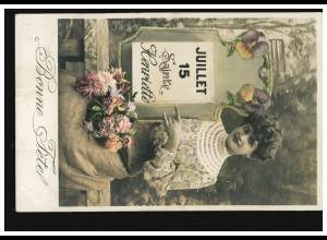 Ansichtskarte Vornamen: 15. Juli Namenstag Henriette Bonne Fetel, gelaufen 1907