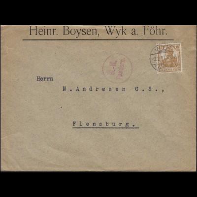 Zensur Ü.-K. Tondern 100 Germania 15 Pf. EF Brief WYK 9.2.17 nach Flensburg