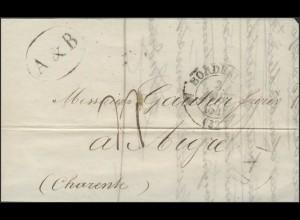 Frankreich Vorphilatelie Faltbrief Bordeaux 3.8.41 nach Aigre 5.8.1841
