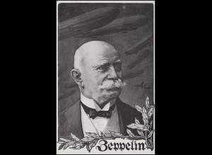 Ansichtskarte Luftflotten-Verein: Graf Zeppelin & Zeppeline, MAINZ 4.4.15