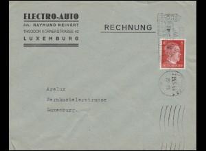 Luxemburg Hitler-EF 8 Pf. Electro-Auto Orts-Brief LUXEMBURG Rosenstadt 25.5.43