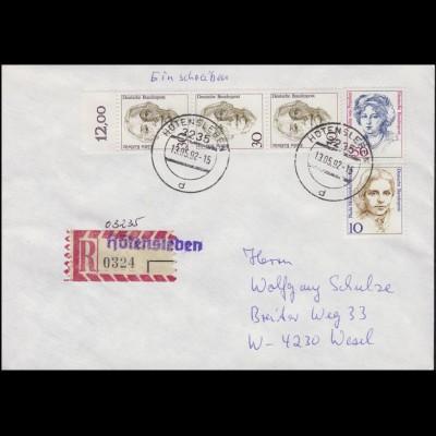 Not-R-Zettel Höttensleben & handschriftliche PLZ O 3235 (VGO), R-BF MiF 13.5.92
